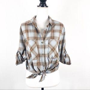 Bella Dahl Plaid Roll Sleeve Button up Shirt